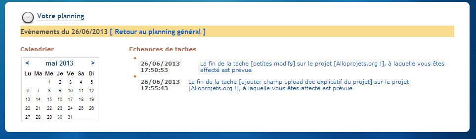 calendrier projet